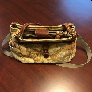 Fossil Floral Canvas and Leather Purse